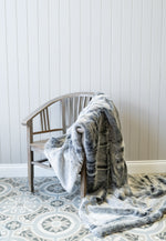 Cotswold Grey Smoke Blue Faux Fur Throw