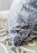 Cotswold Grey Faux Fur - Smoke Blue Cushion 58x58cm