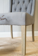 Grey Button Back Chair