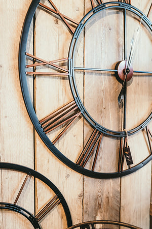 Iron and Copper Skeleton Wall Clock - Medium