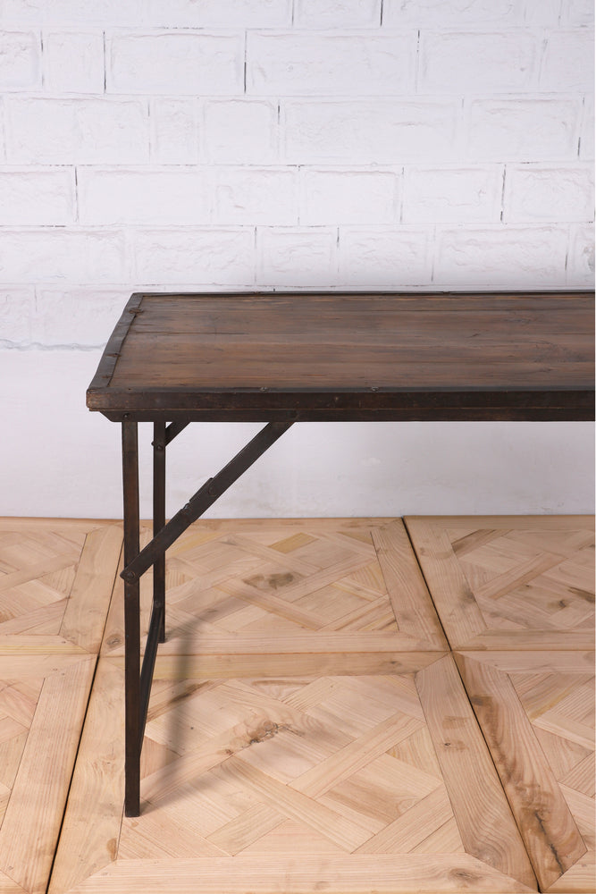 Dark Wood and Iron Tent Table - 180cm