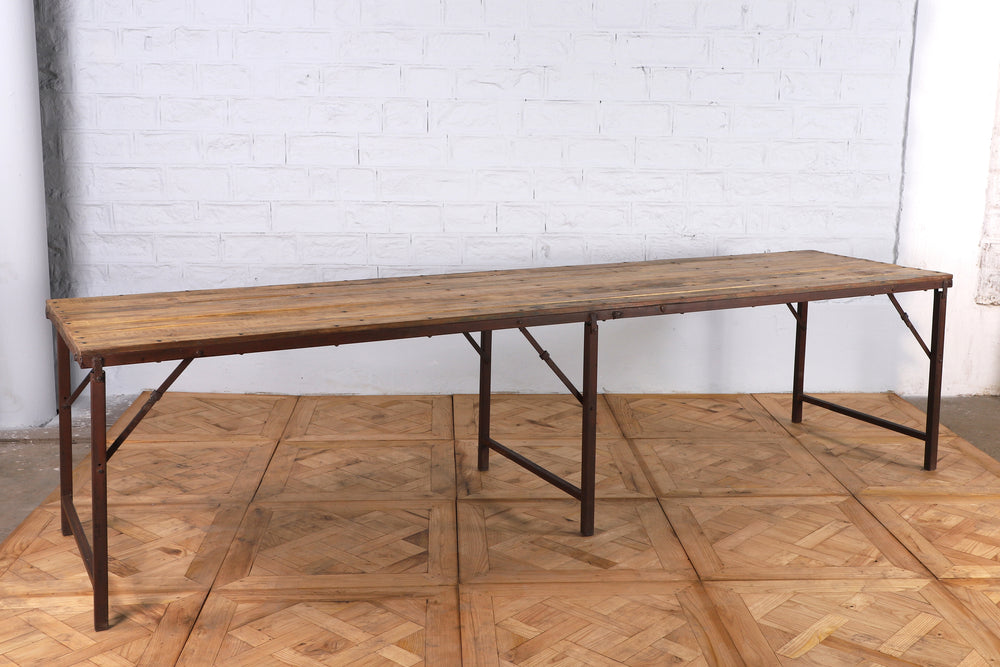 Extra Long Iron Table with Wooden Top - 302cm