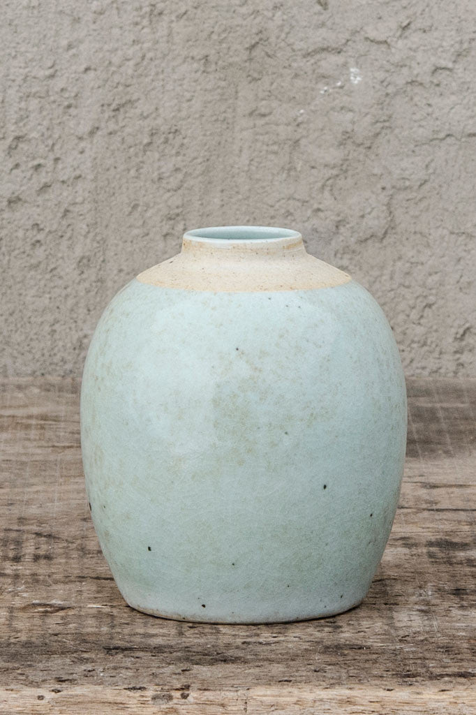 Mottled duck egg blue glazed vase.