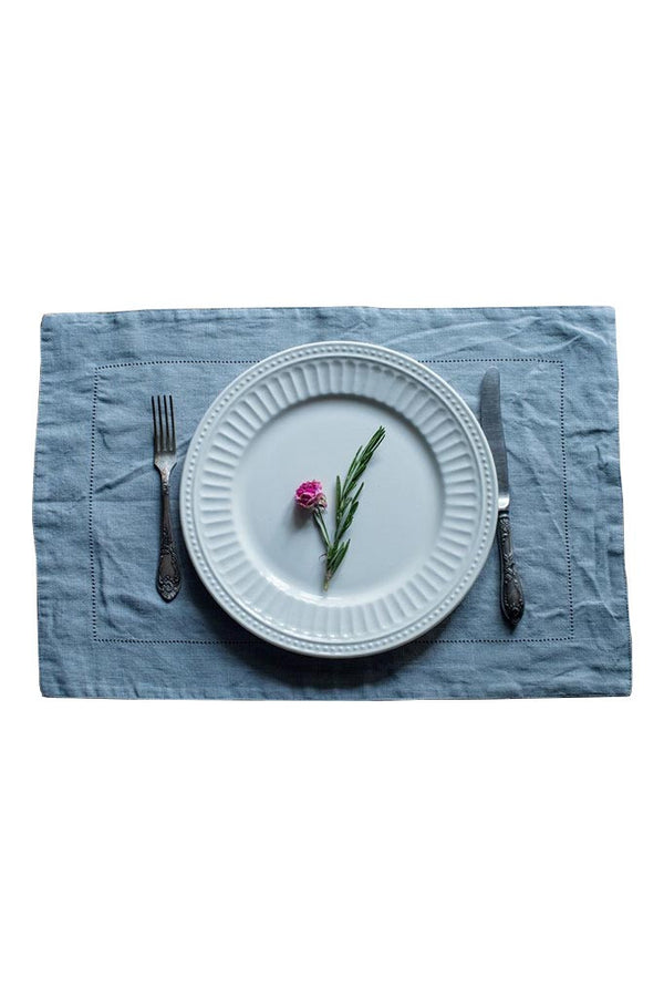 White Plate on Grey Vintage Baltic Placemat