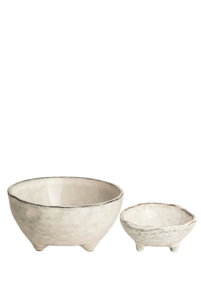 Broste Nordic Sand pair of footed bowls - Large and Small