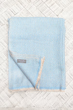 Cashmere Throw - Blue and Beige Chevron