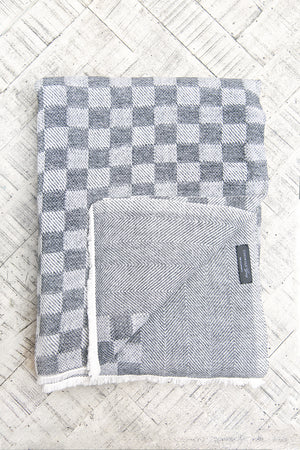 Cashmere Throw - Slate Checkerboard