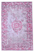 Divine vibrant silver pink indian handwoven rug