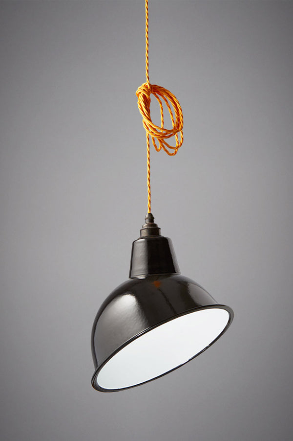 Studio shot of our Nostalgia enamel angled shade in black