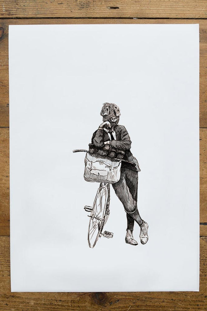 Ben Rothery picture of a man in a suit with a pig head leaning on their bike