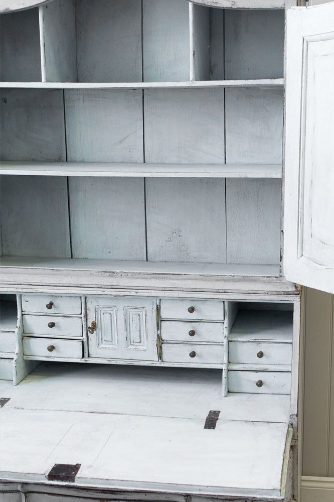 The interior of the Gustavian bureau, with shelves and drawers at Cotswold Grey.