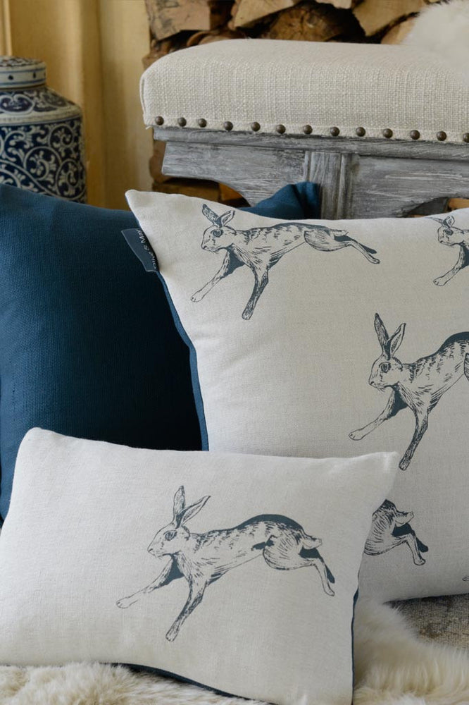 Charcoal Hare Cushion Plain Back 50 x 50