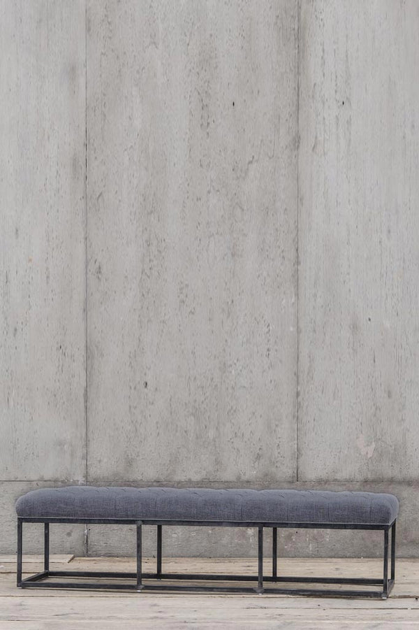 Van Thiel Tufted bench in charcoal.