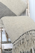 Natural linen Kabuli throw.