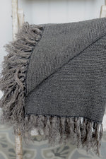 Close up detail of the charcoal linen Kabuli throw.