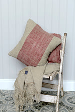 Cotswold Grey Hali Red cushion and throw.