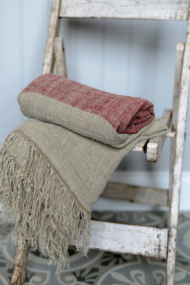 Hali red linen throw.