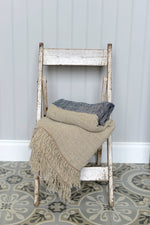 Cotswold Grey Hali Blue linen throw.