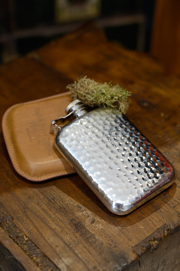 Hammered pewter 6oz hip flask.