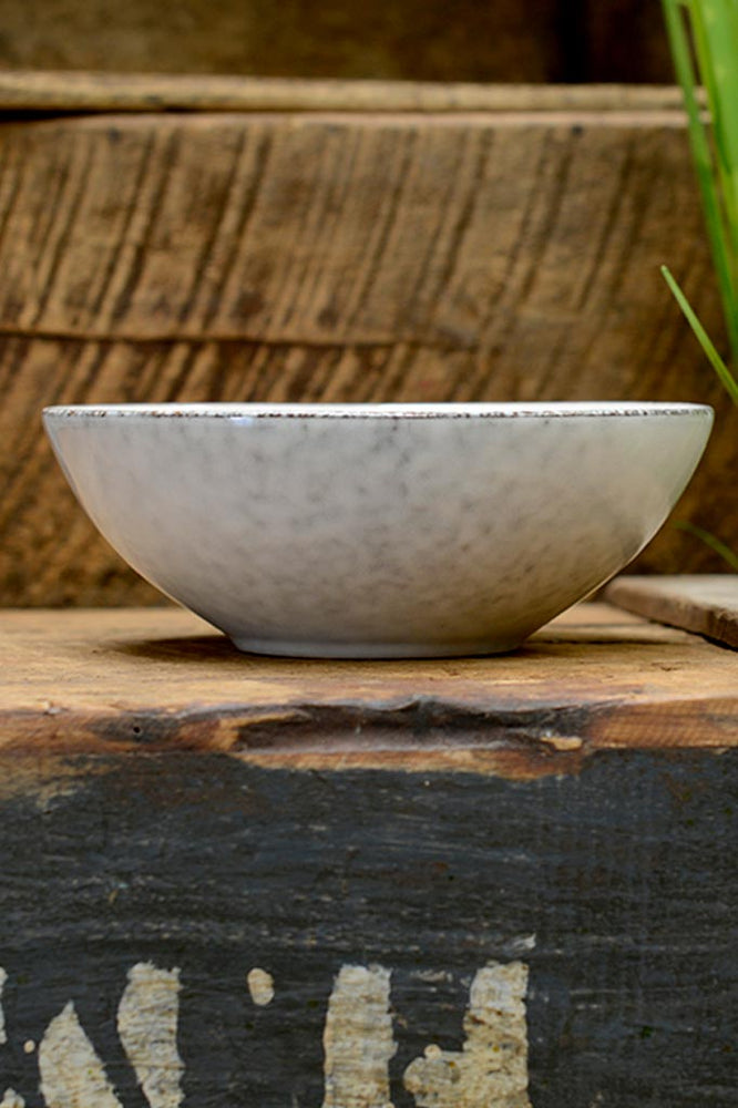 Side view showing the unique glaze of the Nordic Sand cereal bowl, by Broste at Cotswold Grey.