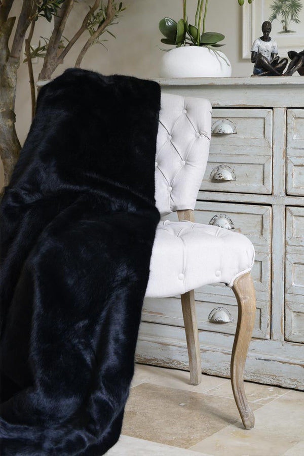 Cotswold Grey Faux Fur Throw Black Bear