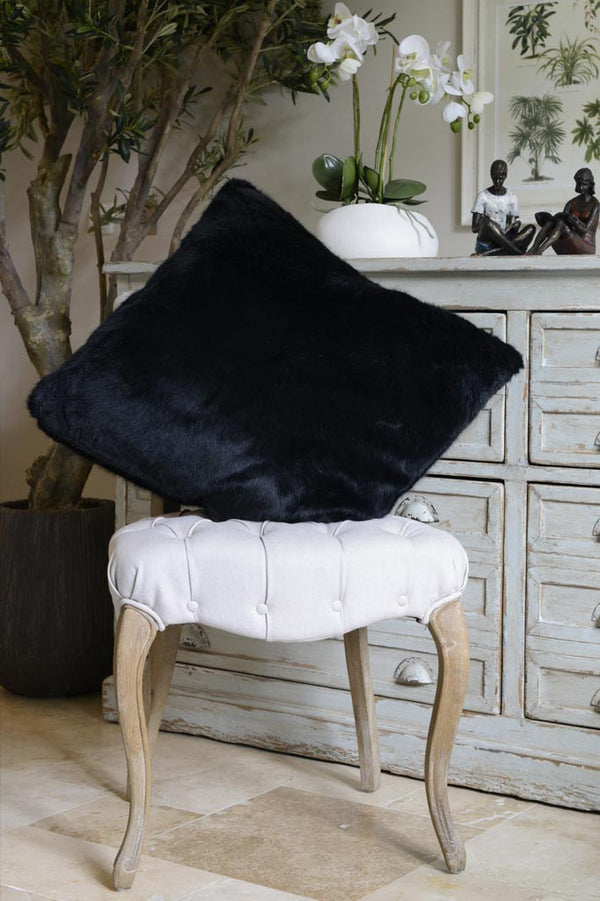 Cotswold Grey Faux Fur Black Bear Soft Cushion Pictured on Chair