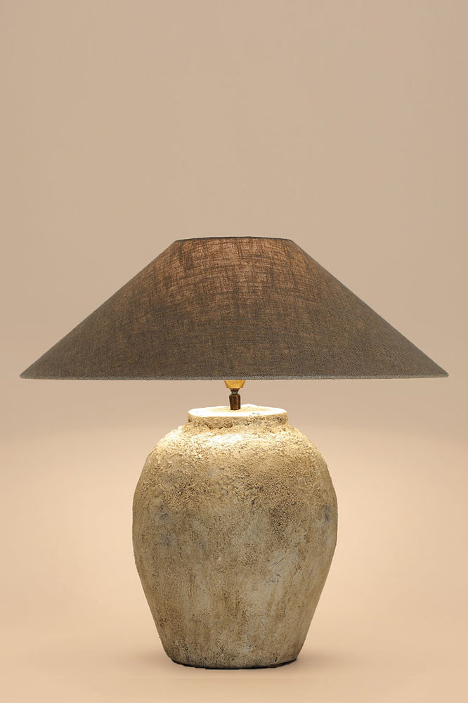 Tierlantijn rustic stone lamp shot in the studio with a shade on