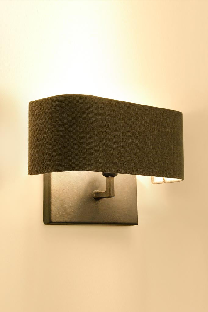 Grey bolzano linen wall Lamp attached to the wall
