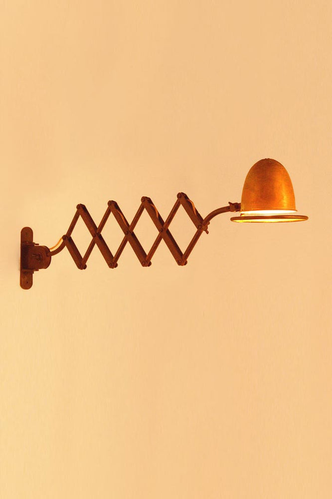Cimino Extendable Wall Lamp in Orange with Scissor Mechanism
