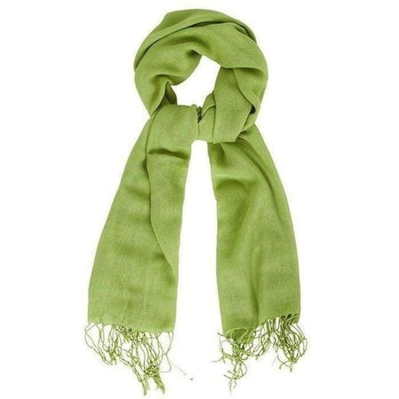 Apple Green Fringe Scarf - Divinity Collection