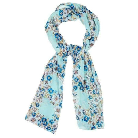 Aqua Vintage Floral Hijab - Divinity Collection