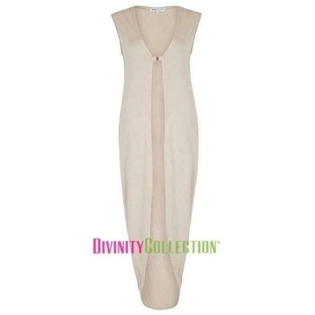 Beige Jersey Cocoon Vest - Divinity Collection