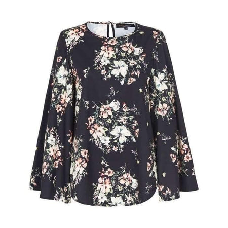 Black Abstract Floral Bell Sleeve Top - Divinity Collection