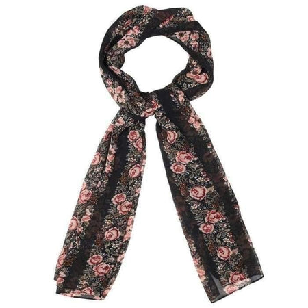 Black and Coral Lace Floral Hijab - Divinity Collection