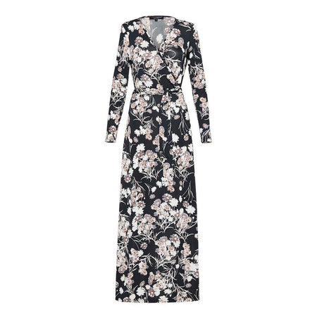 Black and Cream Floral Wrap Dress - Divinity Collection