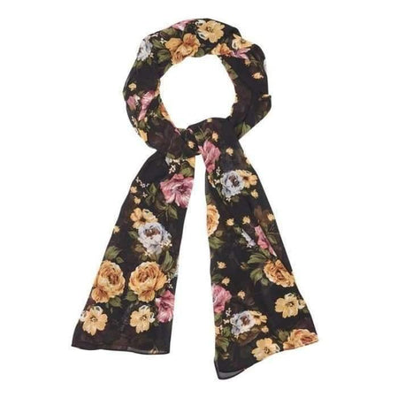 Black and Gold Camellia Hijab - Divinity Collection
