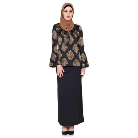 Black and Gold Paisley Bell Sleeve Top - Divinity Collection