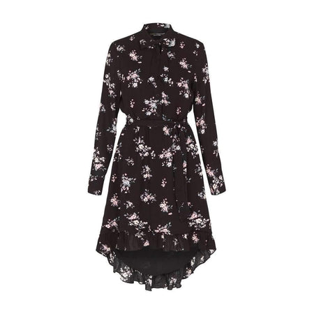 Black and Lilac Floral Frill Tunic Dress - Divinity Collection