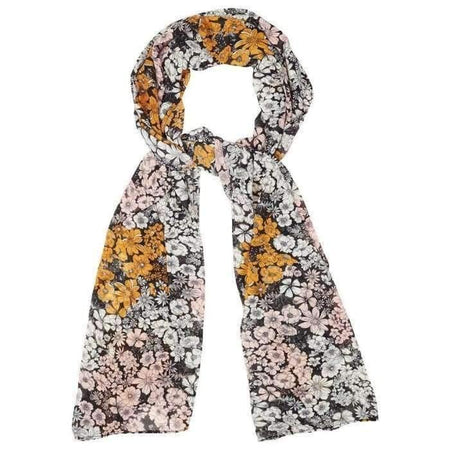 Black and Mustard Floral Hijab - Divinity Collection