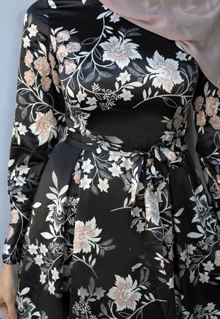 Black and Nude Floral Satin Dress - Divinity Collection