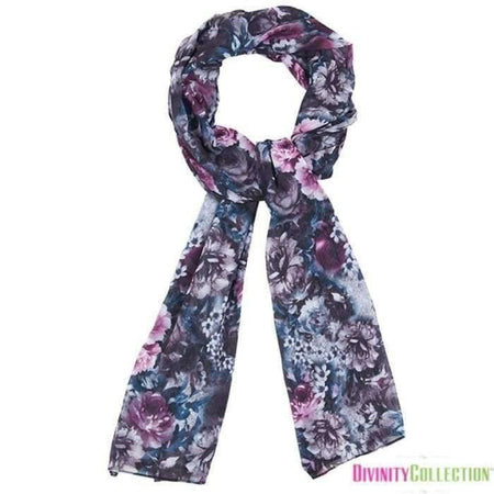 Black and Purple Floral Hijab - Divinity Collection