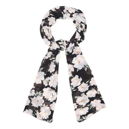 Black and White Gardenia Hijab - Divinity Collection