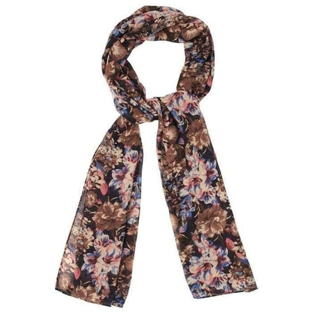 Black Brown Pink and Blue Floral Hijab - Divinity Collection