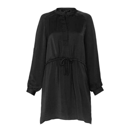 Black Crinkle Satin Drawstring Shirt - Divinity Collection