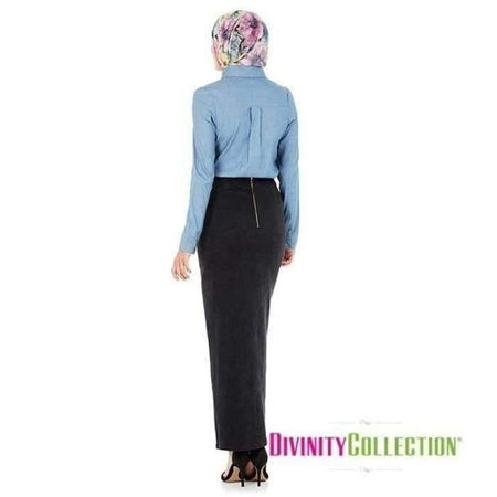 Black Denim Pencil Skirt - Divinity Collection