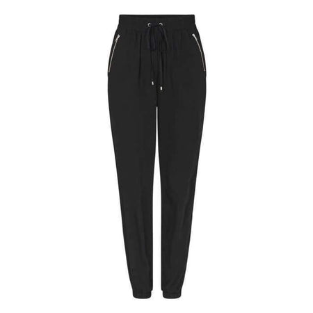 Black Dressy Zipper Jogger Pants - Black - Divinity Collection