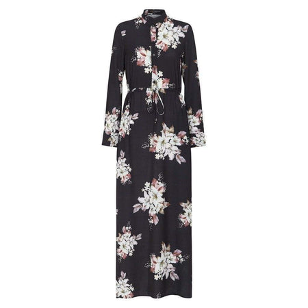 Black Floral Drawstring Maxi Dress - Divinity Collection