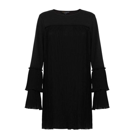 Black Knit Pleated Bell Sleeve Top - Divinity Collection