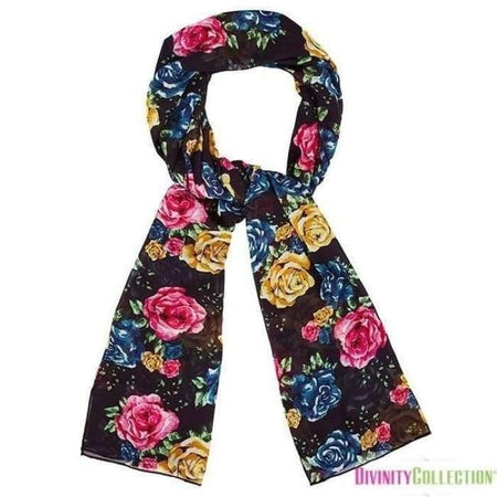 Black Mustard and Pink Floral Hijab - Divinity Collection
