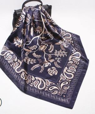 Black Paisley Square Satin Silky Scarf - Divinity Collection